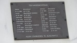 Naamplaat van de tijdens de Tweede Wereldoorlog omgekomen familie Bollegraaf